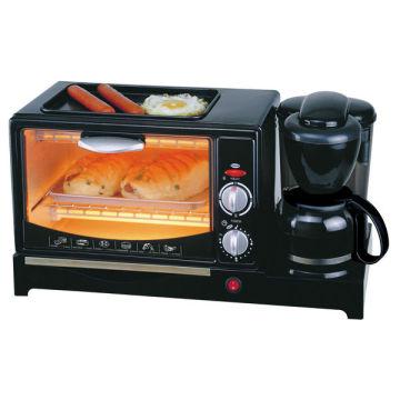 Máquina de café da manhã 3 em 1 com panela, café e forno