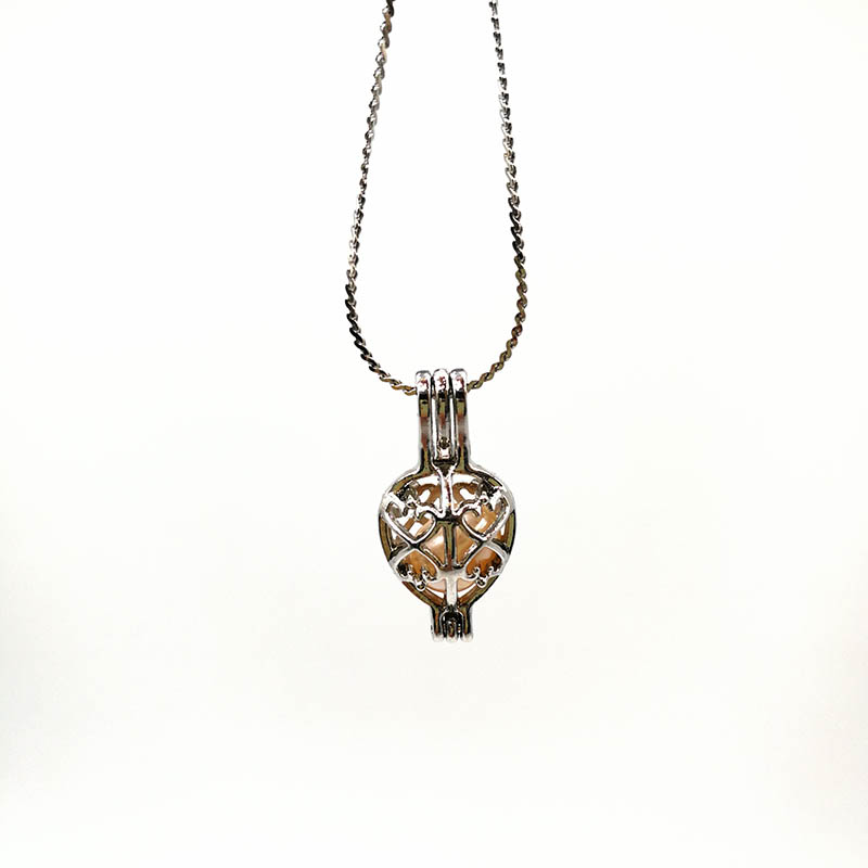 Silver Hollow Heart Pendant Necklace