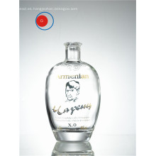 Botella antigua de vidrio cristalino Super XO de forma redonda