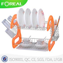 2-Tiers Metal Wire Dish Rack with Cutlery and Mug Storage