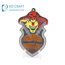 Wholesale cheap custom shaped metal 3d enamel hell logo death's head pumpkin halloween medal for gifts