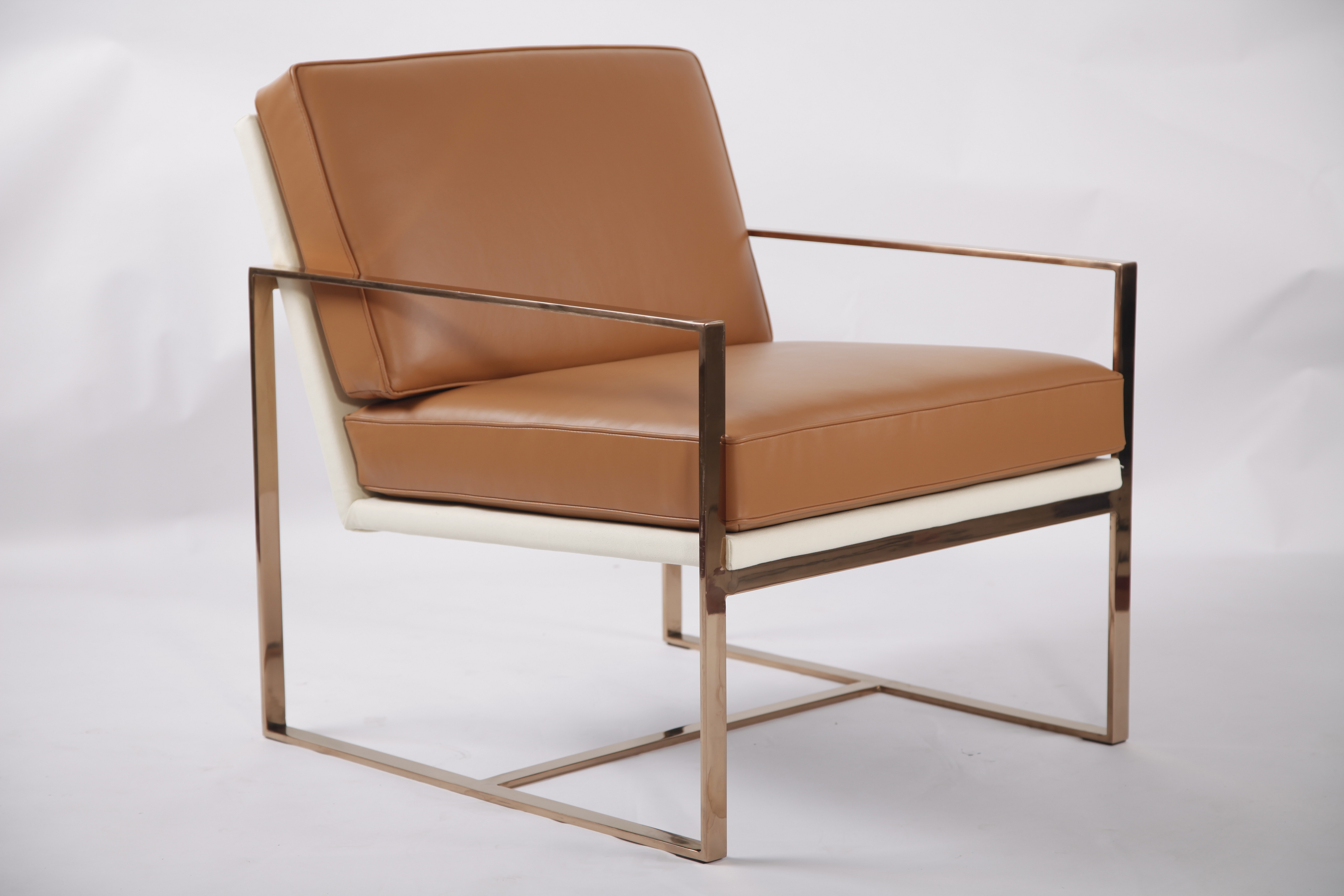 Golden Finished Steel Frame Lounge Chair