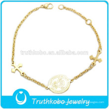 TKB-B0058 Gold Thin Link Extension lobster Clasps Charms Maltese Cross Bracelets