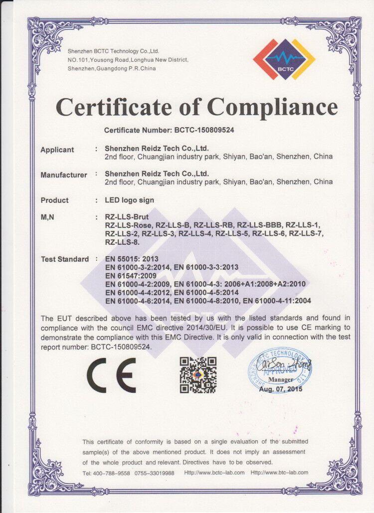 light  box  Ce  certificate