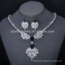 green pendant necklace and earring jewelry set