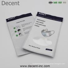 Wholesale Clear Plastic Ziplock Pouch Aluminum Foil Face Mask Packaging Bag for Dust Mask
