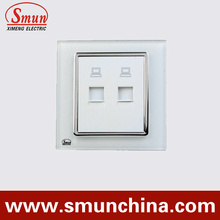 White Wall Socket with Internet Port Telephone Port