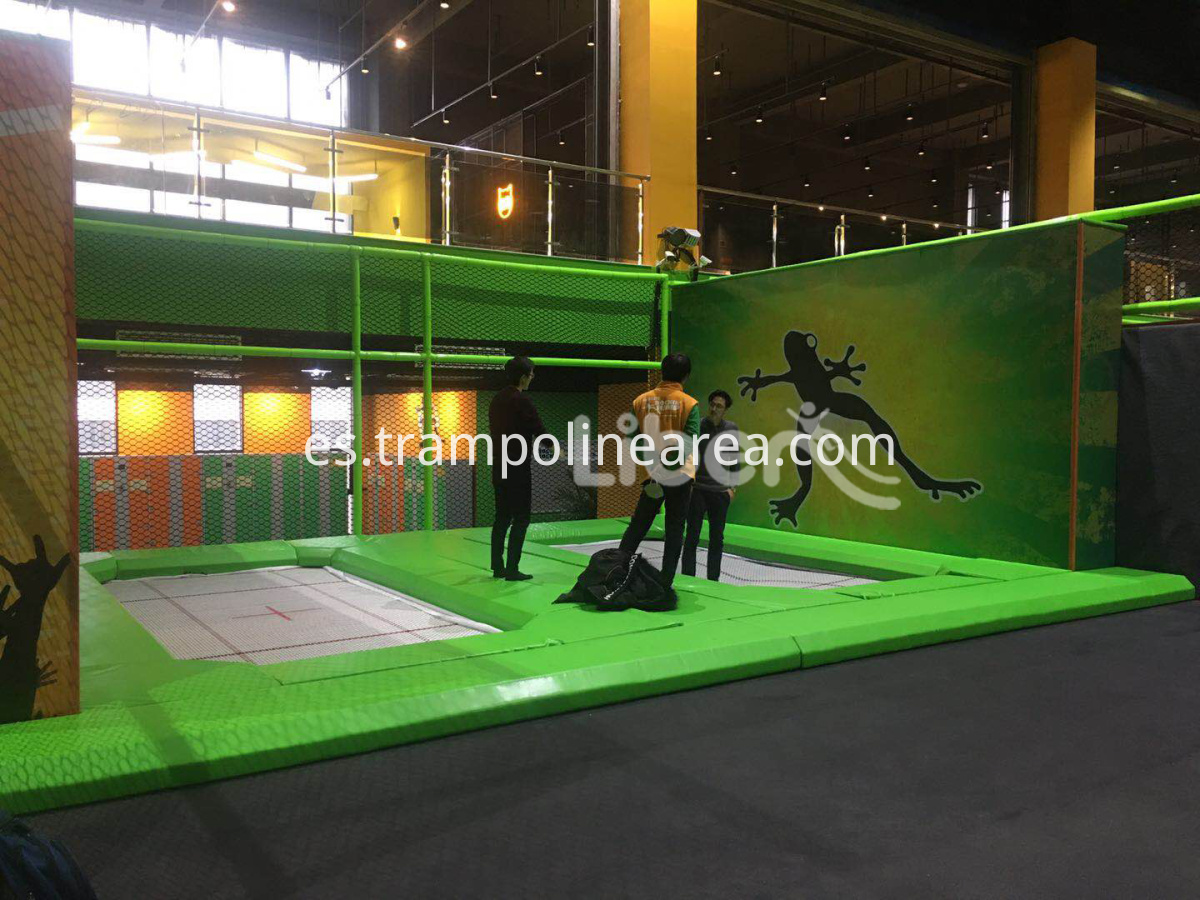 trampoline park with big slide