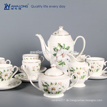Elegant Bone China 6 Person setzt Druck Fine Ceramic Kaffeetasse Set