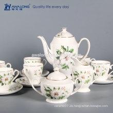 Elegante hueso China 6 personas establece la impresión de cerámica fina taza de café conjunto