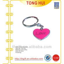 Love enamel heart pendant keychains/keyrings metal