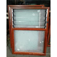 fenêtre à lamelles réglables en verre avec cadre en aluminium