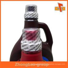PVC heat shrink water bottle cap seal label, customized bottle cap seal package wrap