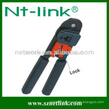 Network cable crimp tool with additional lock