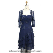 Mulheres Chiffon Beading Jacket Evening Party Prom Dress