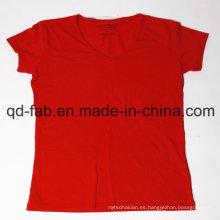 Camiseta de algodón de soja transpirable de algodón (HG-TSL-01)
