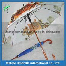 De madeira automática impresso Promocionais dom chuva guarda-chuvas