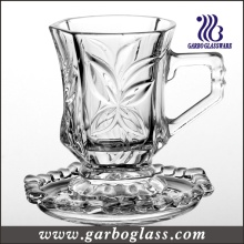 High Quality Crystal Shining Carving Glass Mug & Saucer Set (TZ-GB09D1605SYC)