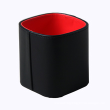 Black / Red PU Leather Desktop Pen Holder