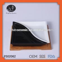 Cerâmica servindo placa conjunto com base de bambu, cerâmica dividida placa, duas peças placa de jantar