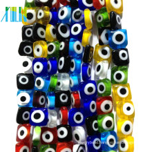 European charm clear flat crystal colored glass turkish eye beads