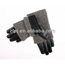 ladies chrome long black leather driving gloves