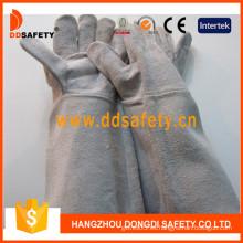 Guante de trabajo de guante de soldador de cuero dividido de vaca gris (DLW620)
