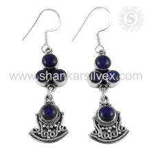 Traditional Indian Jewelry 925 Sterling Silver Lapis Earring Manufacturer