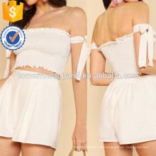 Geraffte Crop Top mit Schulterfrei Krawatte und passenden Minirock Herstellung Großhandel Mode Frauen Bekleidung (TA4063SS)