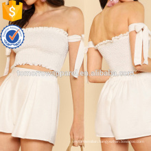 Shirred Crop Top With Off Shoulder Tie And Matching Mini Skirt Manufacture Wholesale Fashion Women Apparel (TA4063SS)