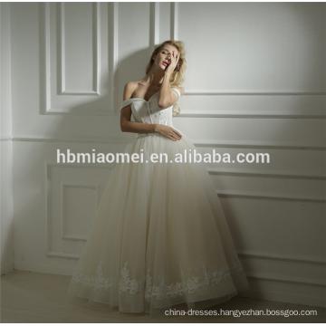 Factory supply custom made Spring new design one word floor length wedding dress bridal gown