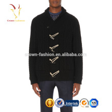 Shawl collar men's cable cashmere cardigan sweater coat