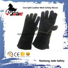 Luva de trabalho de solda de segurança de mão de couro genuíno de couro de vaca