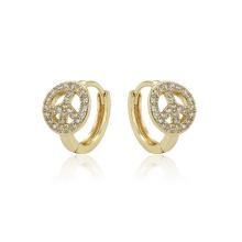 97404 xuping fashion 14K bijoux en or synthétiques zircon synthétiques pavé dames cerceau boucles d'oreilles