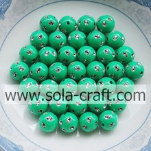 5MM Green Color Fashion Faux Diamond-studded Beads