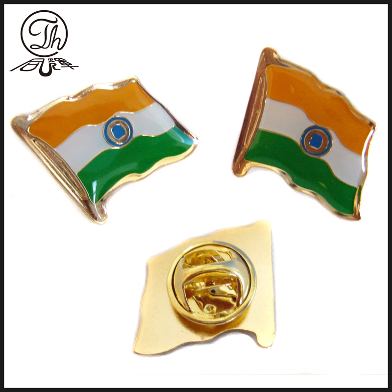 Soft enamel metal flag badge
