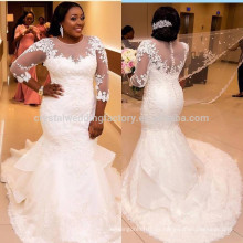 Vestido de boda nupcial africano lujoso de noiva vestido de boda vestido de noiva 2017 Vestido de boda blanco de la sirena MW947