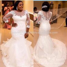 Luxurious African bridal vestido de noiva robe de mariage vestido de noiva curto 2017 Lace Mermaid Wedding Dress MW947