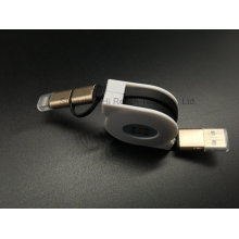 Two in One Retractable USB Cable with Metal Shell for iPhone and Samsung