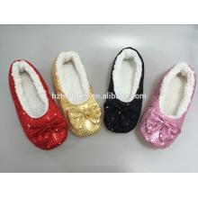 Portátil calmo quarto sapatos blingbling moda interior chinelo sequin superior mulheres casa sapatos