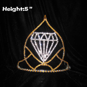 Coroas de 5 polegadas por atacado com diamante em forma de meio