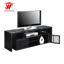 Meuble de télévision en bois foncé avec rangement