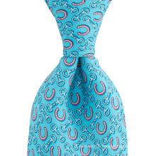 Motif en fer à cheval Motif personnalisé impression hommes noeud parfait en soie étiquette privée