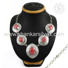 Glittering rosa rhodochrosite gemstone colar de prata jóias 925 prata esterlina Jóias jóias de prata indiana