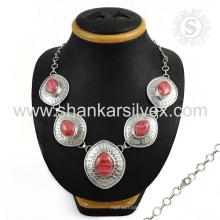Сверкающие розовый родохрозит драгоценных камней серебряные ювелирные изделия ожерелье 925 серебряные ювелирные изделия индийских серебряные ювелирные изделия