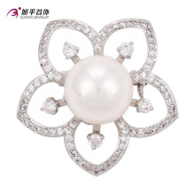 Xuping Fashion Luxury Rhodium Big Main Pearl Crystals From Swarovski Flower-Shaped Jewelry Element Brooch -00013