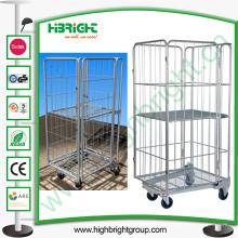 Organizador plástico do carrinho da lavanderia da compra com rodas