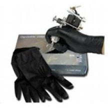 Professional Disposable Black Tattoo Glove with Small Medium Large Size