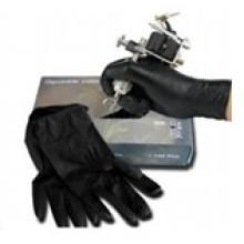 Профессиональные одноразовые черный татуировки перчатки с маленький средний большой размер
