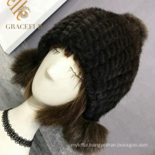 Multi color headwear girls black real fur hat